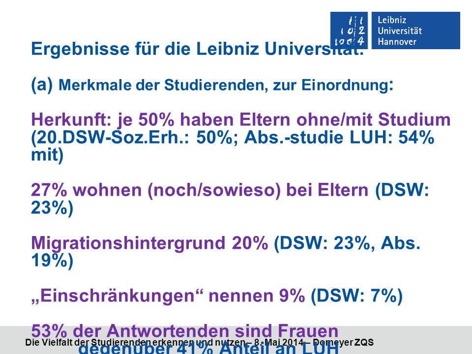 Die Vielfalt der Studierenden erkennen und nutzen – 8. Mai 2014 – Domeyer ZQS Ergebnisse für die Leibniz Universität: (a) Merkmale der Studierenden, z