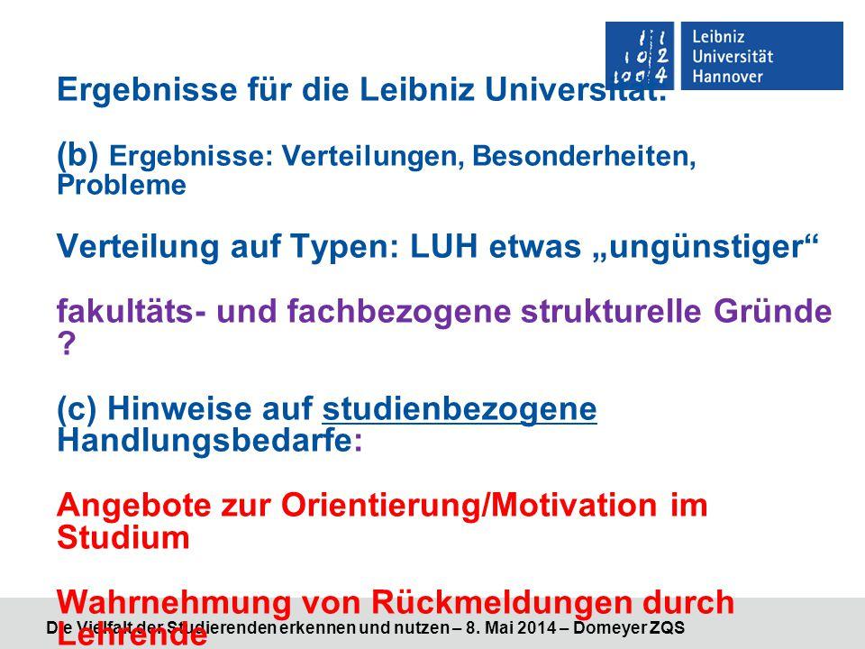 """Ergebnisse für die Leibniz Universität: (b) Ergebnisse: Verteilungen, Besonderheiten, Probleme Verteilung auf Typen: LUH etwas """"ungünstiger"""" fakultäts"""