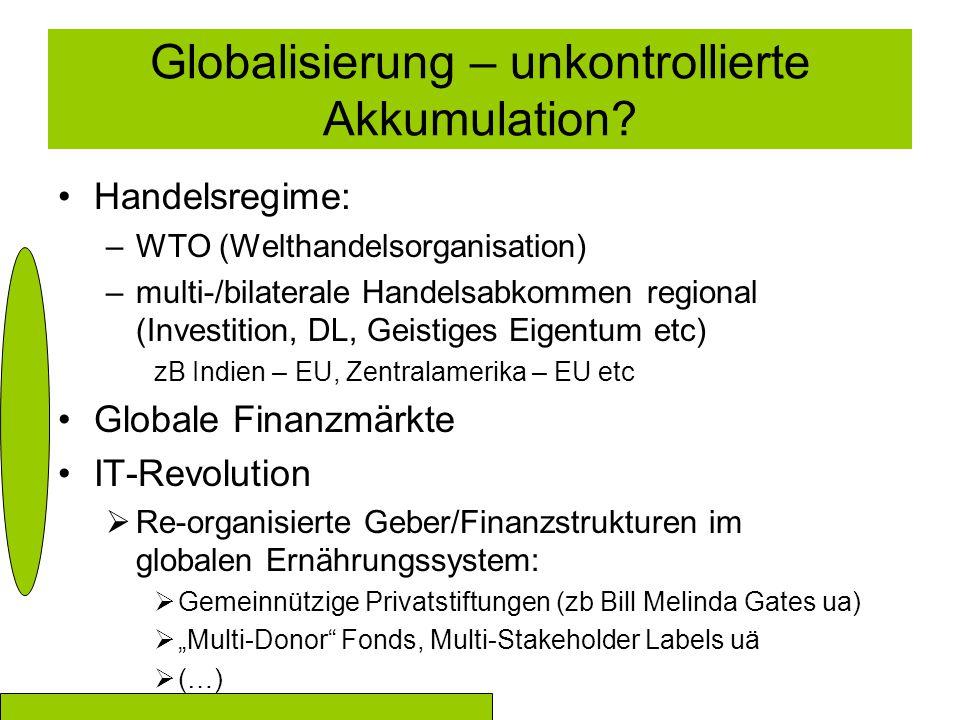 Globalisierung – unkontrollierte Akkumulation? Handelsregime: –WTO (Welthandelsorganisation) –multi-/bilaterale Handelsabkommen regional (Investition,