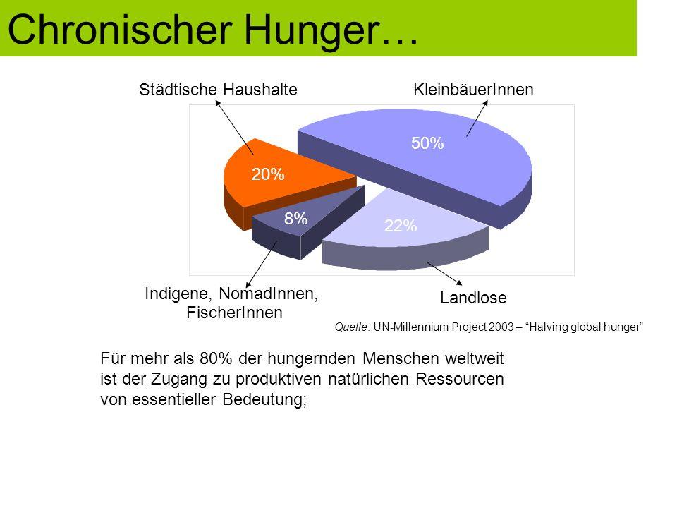 50% 22% 8% 20% KleinbäuerInnen Landlose Städtische Haushalte Indigene, NomadInnen, FischerInnen Quelle: UN-Millennium Project 2003 – Halving global hunger Für mehr als 80% der hungernden Menschen weltweit ist der Zugang zu produktiven natürlichen Ressourcen von essentieller Bedeutung; Chronischer Hunger…