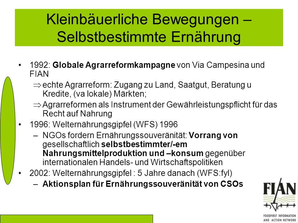 Kleinbäuerliche Bewegungen – Selbstbestimmte Ernährung 1992: Globale Agrarreformkampagne von Via Campesina und FIAN  echte Agrarreform: Zugang zu Land, Saatgut, Beratung u Kredite, (va lokale) Märkten;  Agrarreformen als Instrument der Gewährleistungspflicht für das Recht auf Nahrung 1996: Welternährungsgipfel (WFS) 1996 –NGOs fordern Ernährungssouveränität: Vorrang von gesellschaftlich selbstbestimmter/-em Nahrungsmittelproduktion und –konsum gegenüber internationalen Handels- und Wirtschaftspolitiken 2002: Welternährungsgipfel : 5 Jahre danach (WFS:fyl) –Aktionsplan für Ernährungssouveränität von CSOs