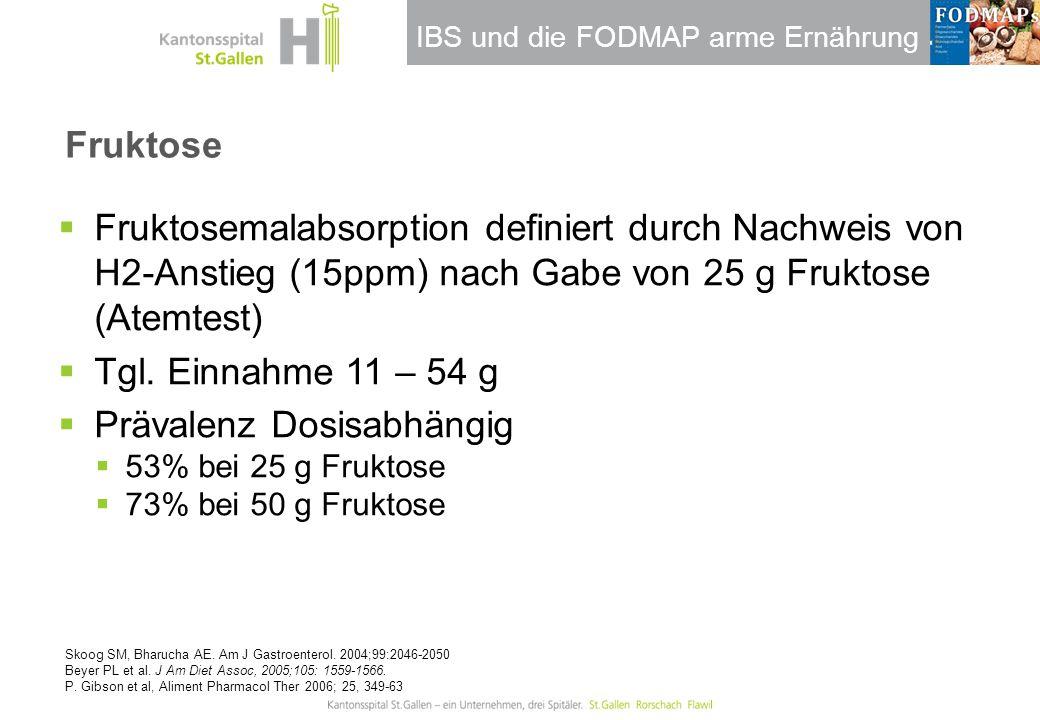 IBS und die FODMAP arme Ernährung Fruktose  Fruktosemalabsorption definiert durch Nachweis von H2-Anstieg (15ppm) nach Gabe von 25 g Fruktose (Atemte