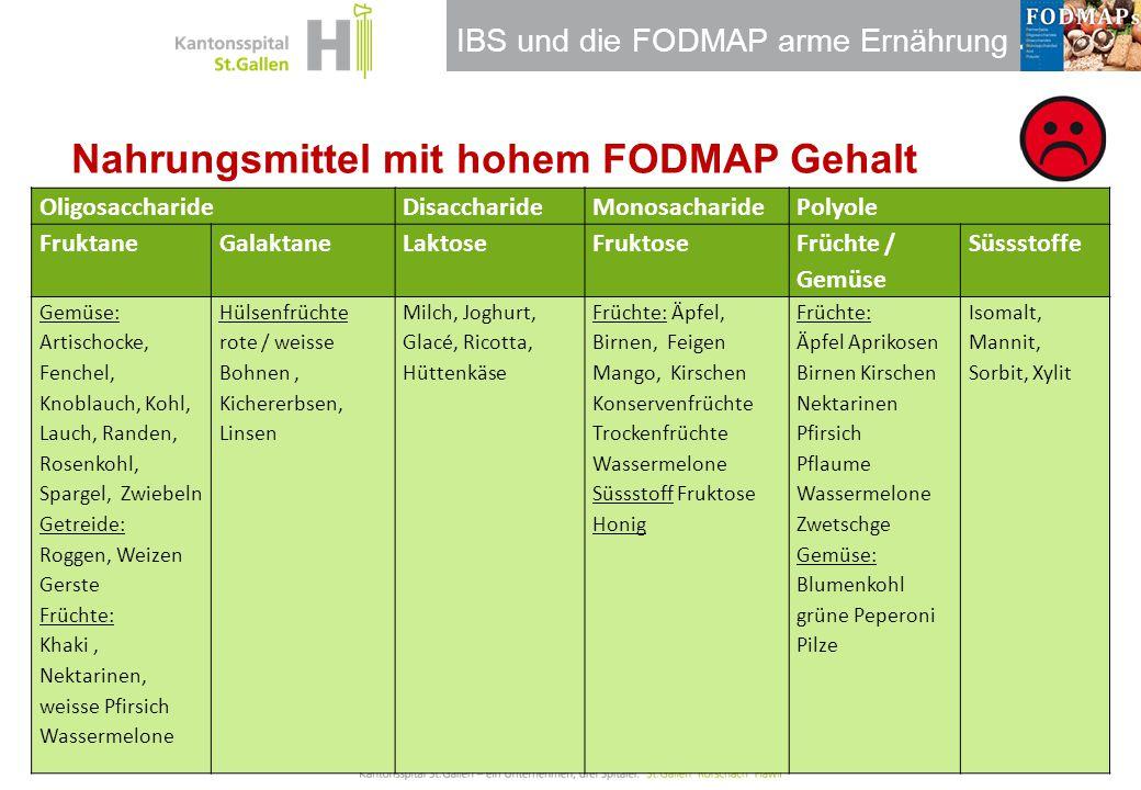 IBS und die FODMAP arme Ernährung Nahrungsmittel mit hohem FODMAP Gehalt OligosaccharideDisaccharideMonosacharidePolyole FruktaneGalaktaneLaktoseFrukt