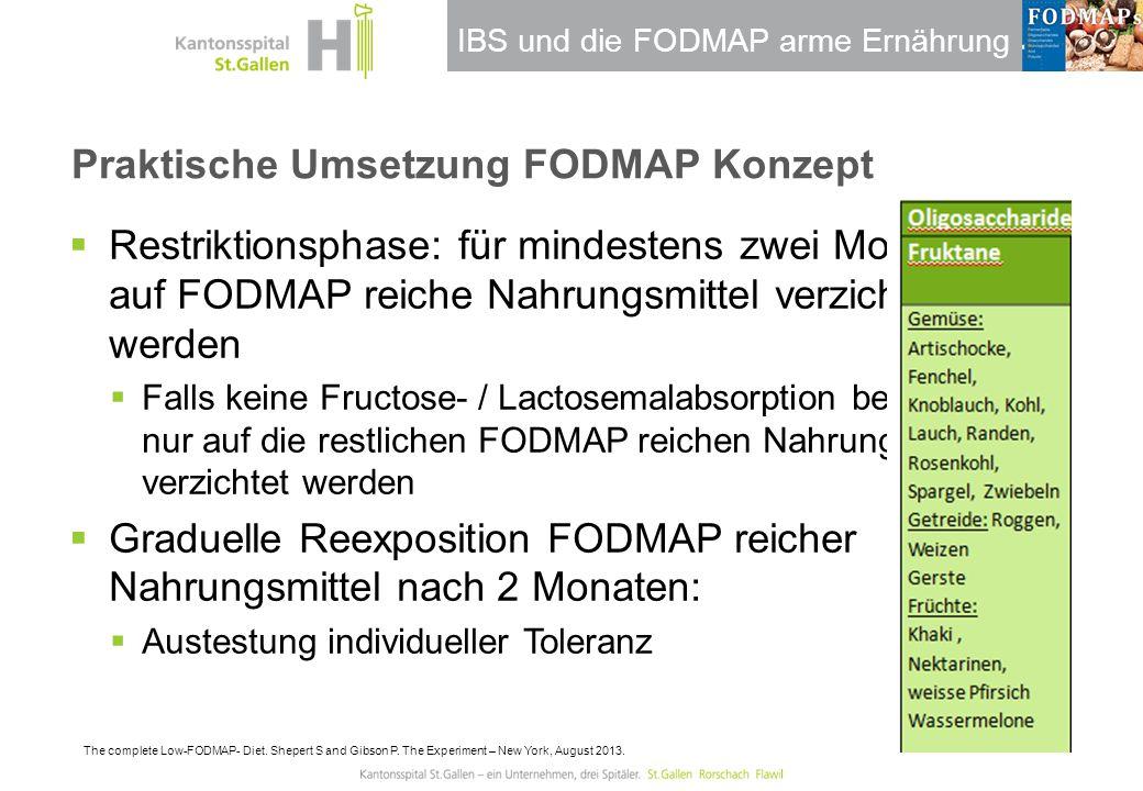 IBS und die FODMAP arme Ernährung Praktische Umsetzung FODMAP Konzept  Restriktionsphase: für mindestens zwei Monate soll auf FODMAP reiche Nahrungsm