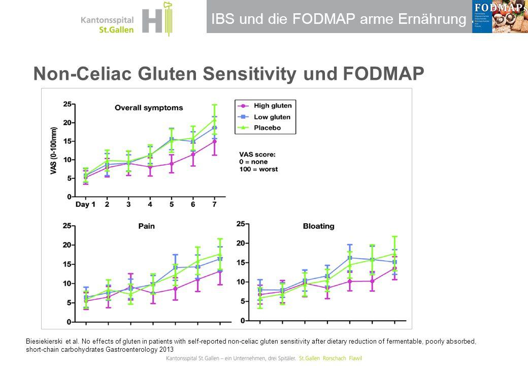 IBS und die FODMAP arme Ernährung Non-Celiac Gluten Sensitivity und FODMAP Biesiekierski et al. No effects of gluten in patients with self-reported no
