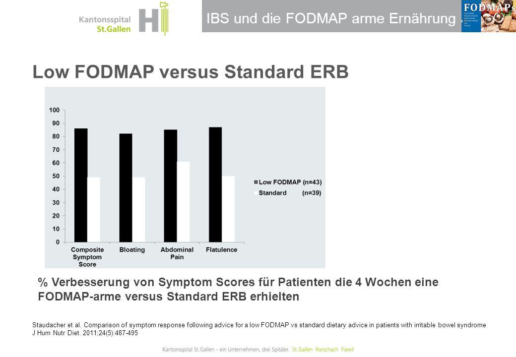 IBS und die FODMAP arme Ernährung Low FODMAP versus Standard ERB Staudacher et al. Comparison of symptom response following advice for a low FODMAP vs