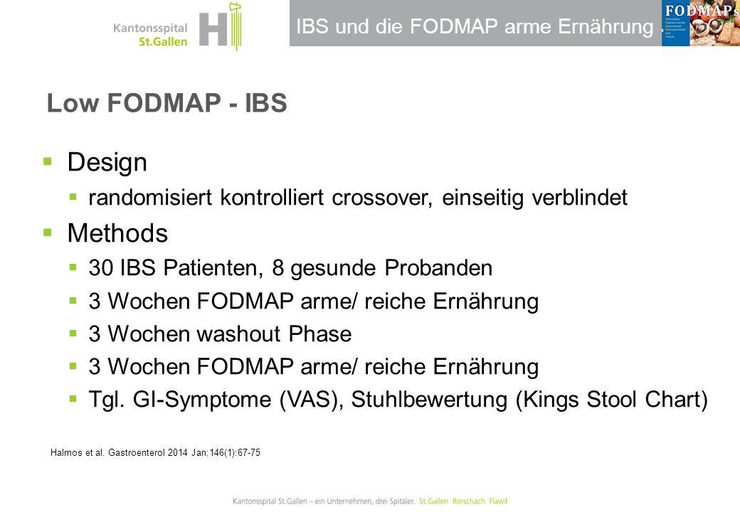 IBS und die FODMAP arme Ernährung Low FODMAP - IBS  Design  randomisiert kontrolliert crossover, einseitig verblindet  Methods  30 IBS Patienten,