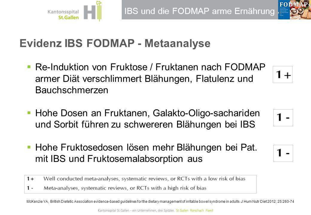 IBS und die FODMAP arme Ernährung Evidenz IBS FODMAP - Metaanalyse  Re-Induktion von Fruktose / Fruktanen nach FODMAP armer Diät verschlimmert Blähun