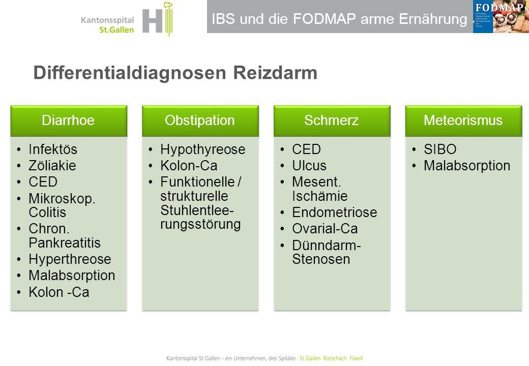 IBS und die FODMAP arme Ernährung Differentialdiagnosen Reizdarm Diarrhoe Infektös Zöliakie CED Mikroskop. Colitis Chron. Pankreatitis Hyperthreose Ma