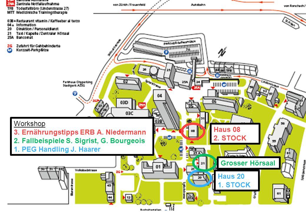 IBS und die FODMAP arme Ernährung Haus 08 2. STOCK Haus 20 1. STOCK Workshop 3. Ernährungstipps ERB A. Niedermann 2. Fallbeispiele S. Sigrist, G. Bour