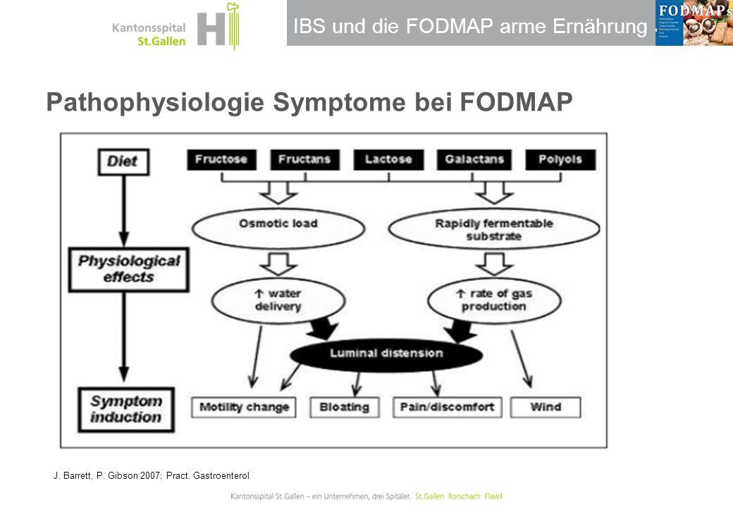 IBS und die FODMAP arme Ernährung Pathophysiologie Symptome bei FODMAP J. Barrett, P. Gibson 2007; Pract. Gastroenterol