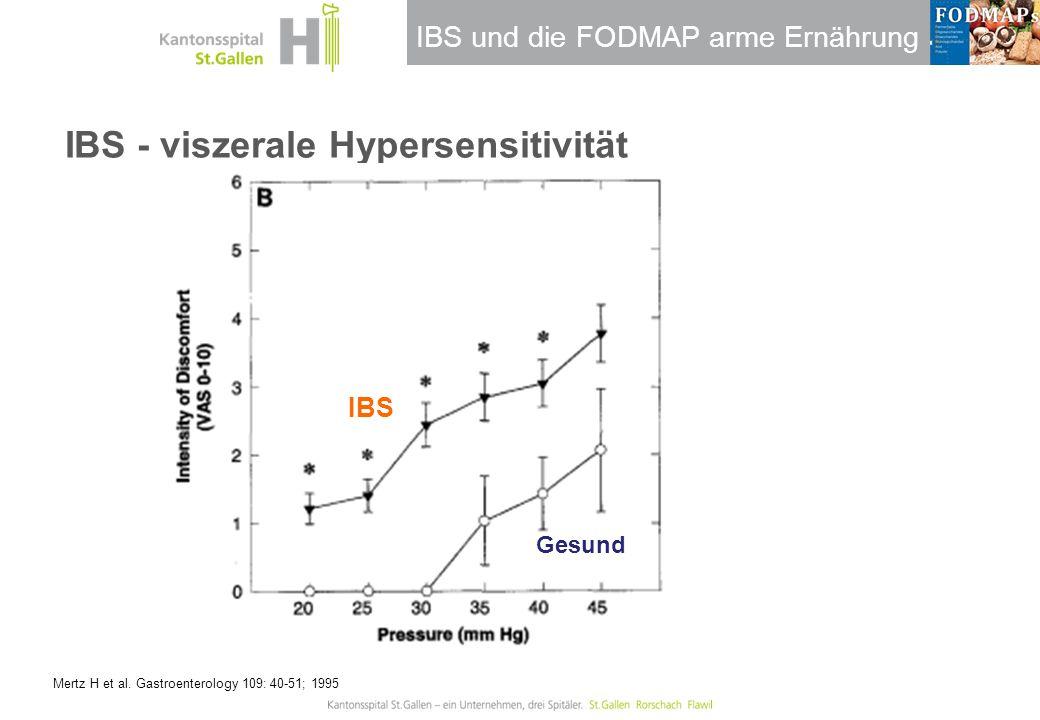 IBS und die FODMAP arme Ernährung IBS - viszerale Hypersensitivität Mertz H et al. Gastroenterology 109: 40-51; 1995 IBS Gesund