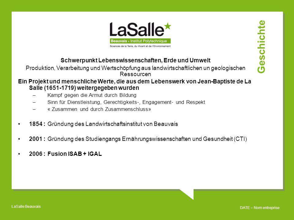 LaSalle Beauvais DATE – Nom entreprise CA Externe Partner Interne Konsultationsv erfahren Wertschöpfung: Das Institut achtet auf nachhaltige Entwicklung.