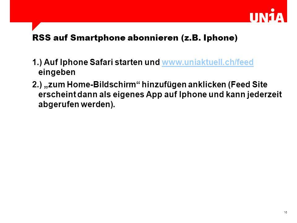 16 RSS auf Smartphone abonnieren (z.B.