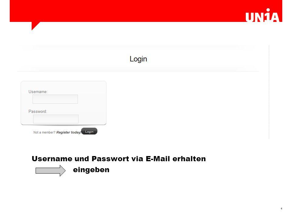 4 Username und Passwort via E-Mail erhalten eingeben