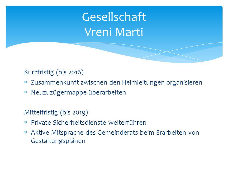 Kurzfristig (bis 2016)  Zusammenkunft zwischen den Heimleitungen organisieren  Neuzuzügermappe überarbeiten Mittelfristig (bis 2019)  Private Siche