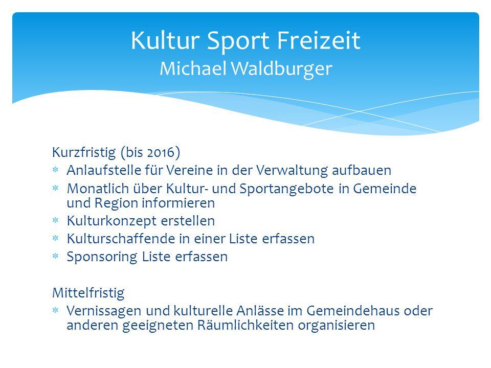 Kurzfristig (bis 2016)  Anlaufstelle für Vereine in der Verwaltung aufbauen  Monatlich über Kultur- und Sportangebote in Gemeinde und Region informi