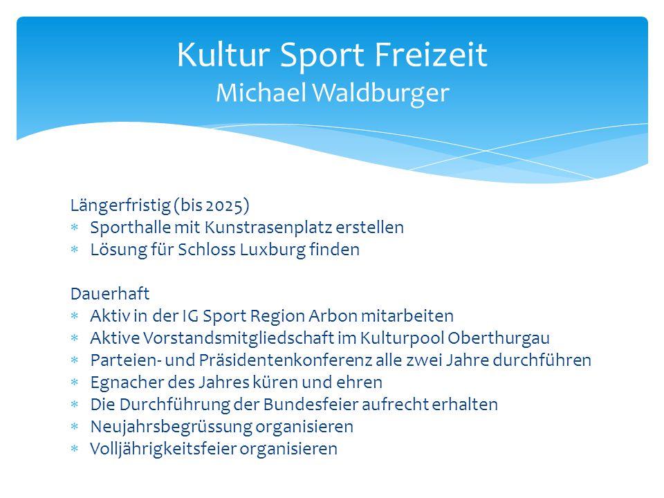 Längerfristig (bis 2025)  Sporthalle mit Kunstrasenplatz erstellen  Lösung für Schloss Luxburg finden Dauerhaft  Aktiv in der IG Sport Region Arbon