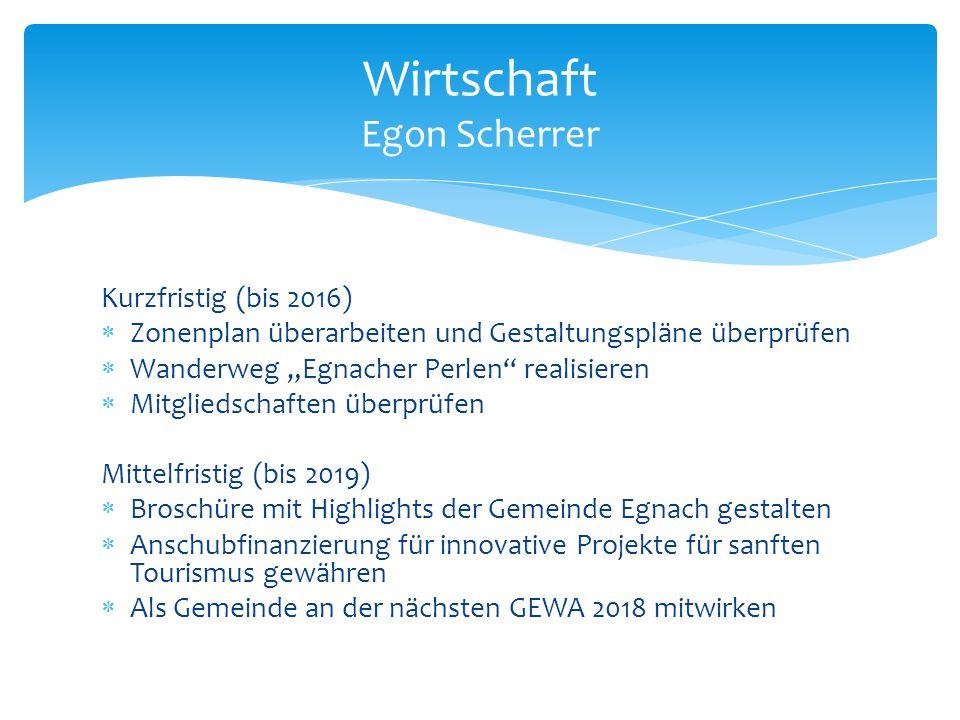 """Kurzfristig (bis 2016)  Zonenplan überarbeiten und Gestaltungspläne überprüfen  Wanderweg """"Egnacher Perlen"""" realisieren  Mitgliedschaften überprüfe"""