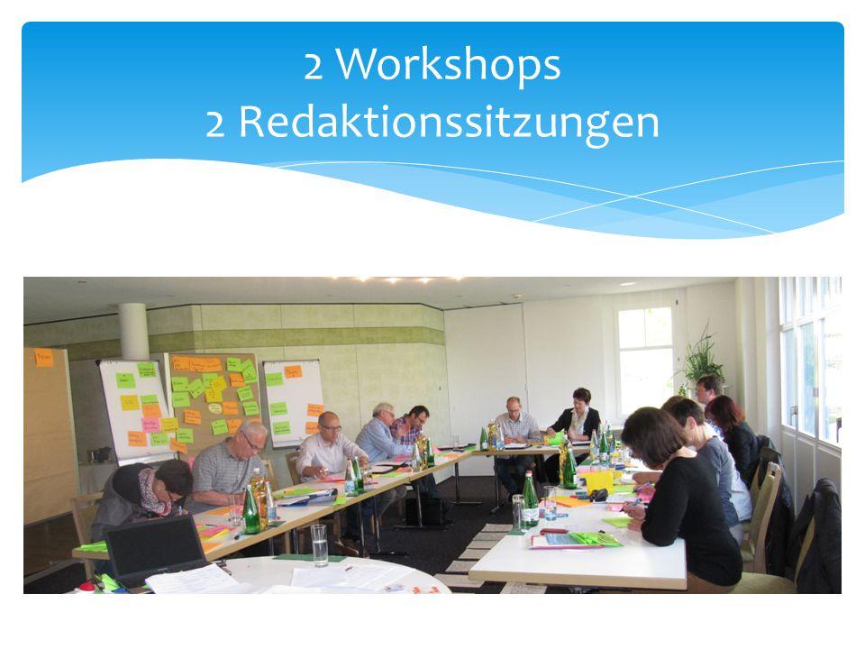 2 Workshops 2 Redaktionssitzungen