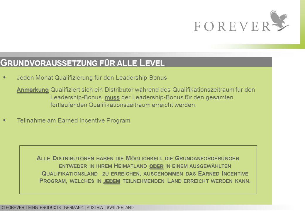 © FOREVER LIVING PRODUCTS GERMANY | AUSTRIA | SWITZERLAND G RUNDVORAUSSETZUNG FÜR ALLE L EVEL  Teilnahme am Earned Incentive Program  Jeden Monat Qu