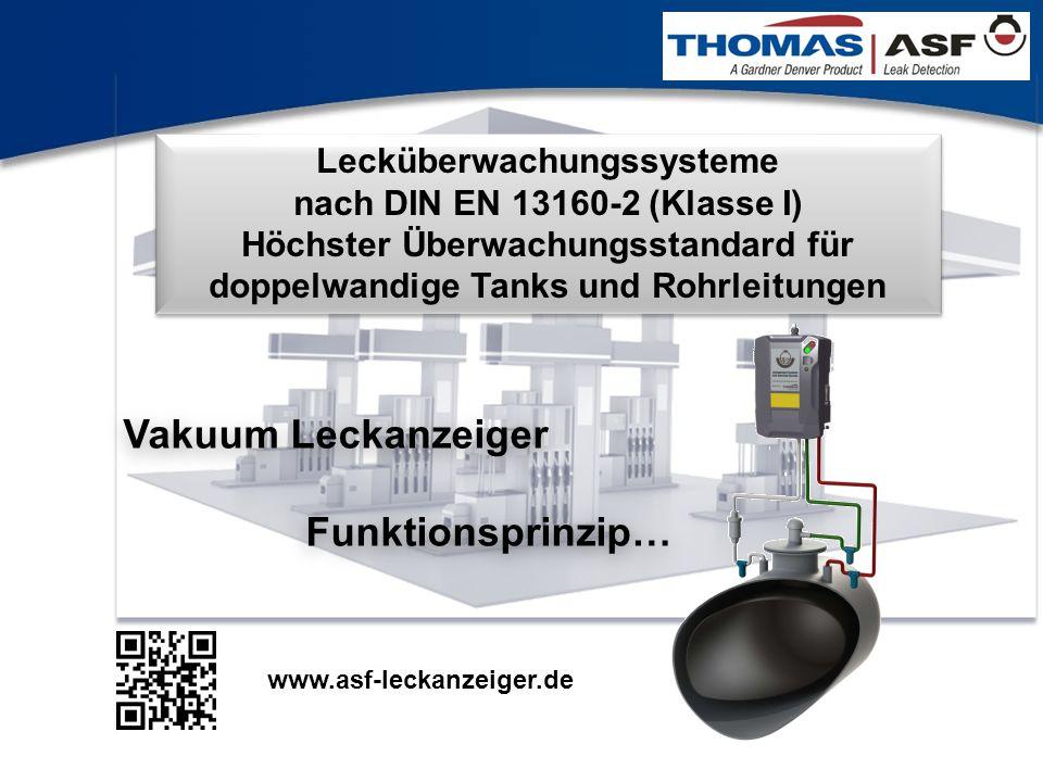 1 Lecküberwachungssysteme nach DIN EN 13160-2 (Klasse I) Höchster Überwachungsstandard für doppelwandige Tanks und Rohrleitungen Vakuum Leckanzeiger F