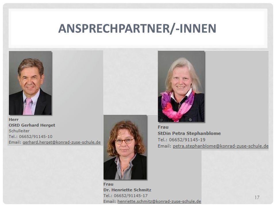 ANSPRECHPARTNER/-INNEN 17