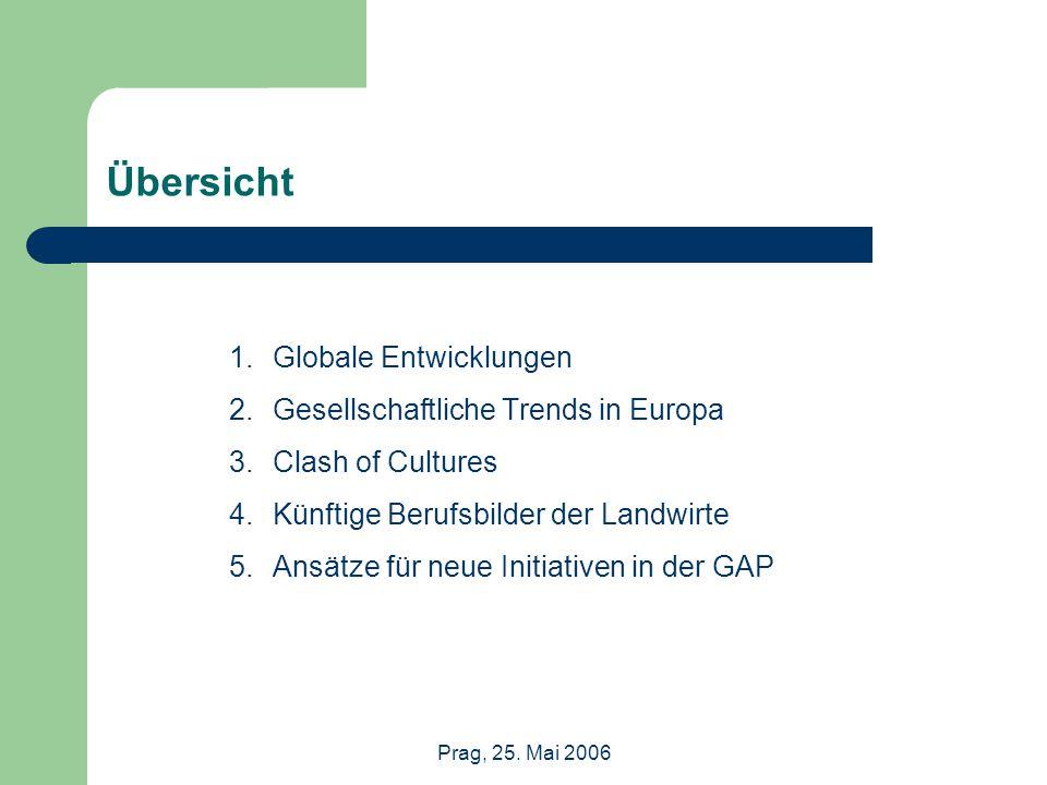 Übersicht 1.Globale Entwicklungen 2.Gesellschaftliche Trends in Europa 3.Clash of Cultures 4.Künftige Berufsbilder der Landwirte 5.Ansätze für neue Initiativen in der GAP
