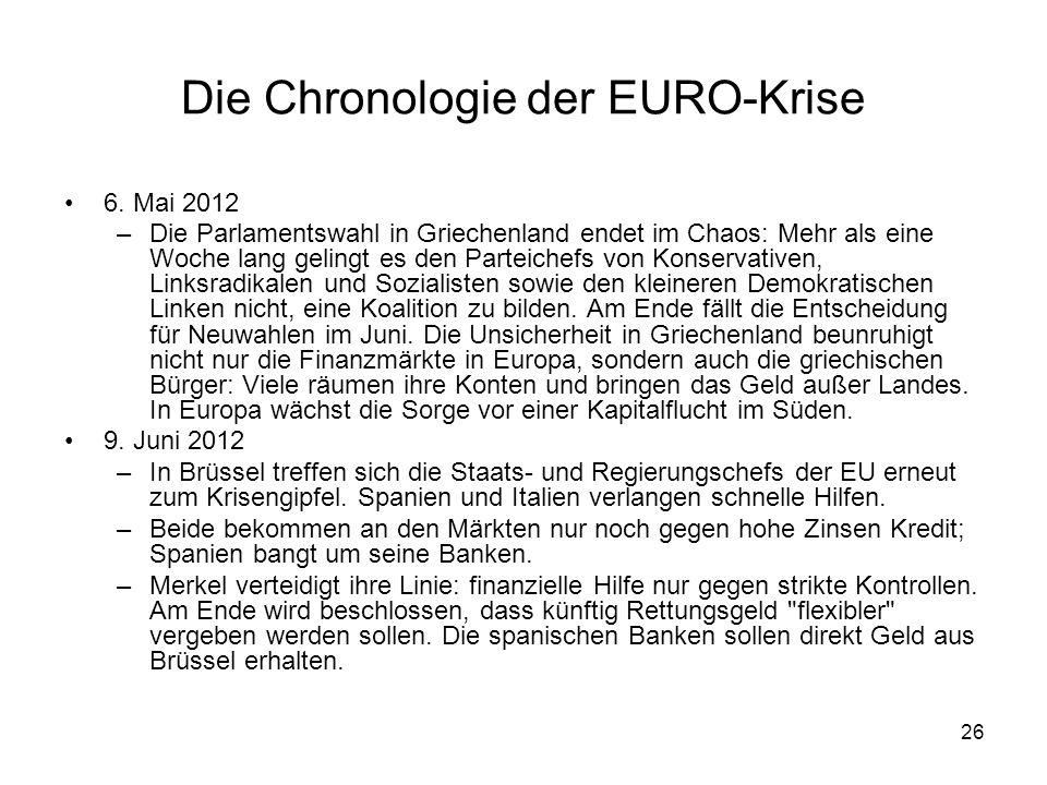 26 Die Chronologie der EURO-Krise 6. Mai 2012 –Die Parlamentswahl in Griechenland endet im Chaos: Mehr als eine Woche lang gelingt es den Parteichefs