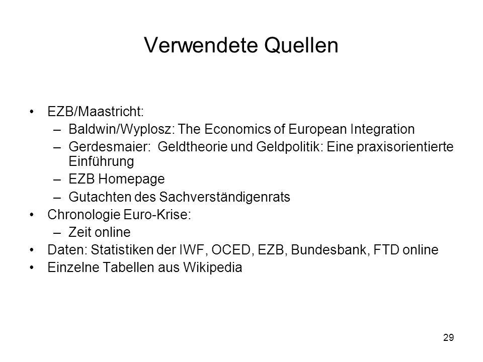 29 Verwendete Quellen EZB/Maastricht: –Baldwin/Wyplosz: The Economics of European Integration –Gerdesmaier: Geldtheorie und Geldpolitik: Eine praxisor