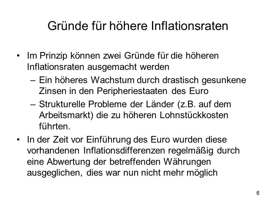 6 Gründe für höhere Inflationsraten Im Prinzip können zwei Gründe für die höheren Inflationsraten ausgemacht werden –Ein höheres Wachstum durch drasti