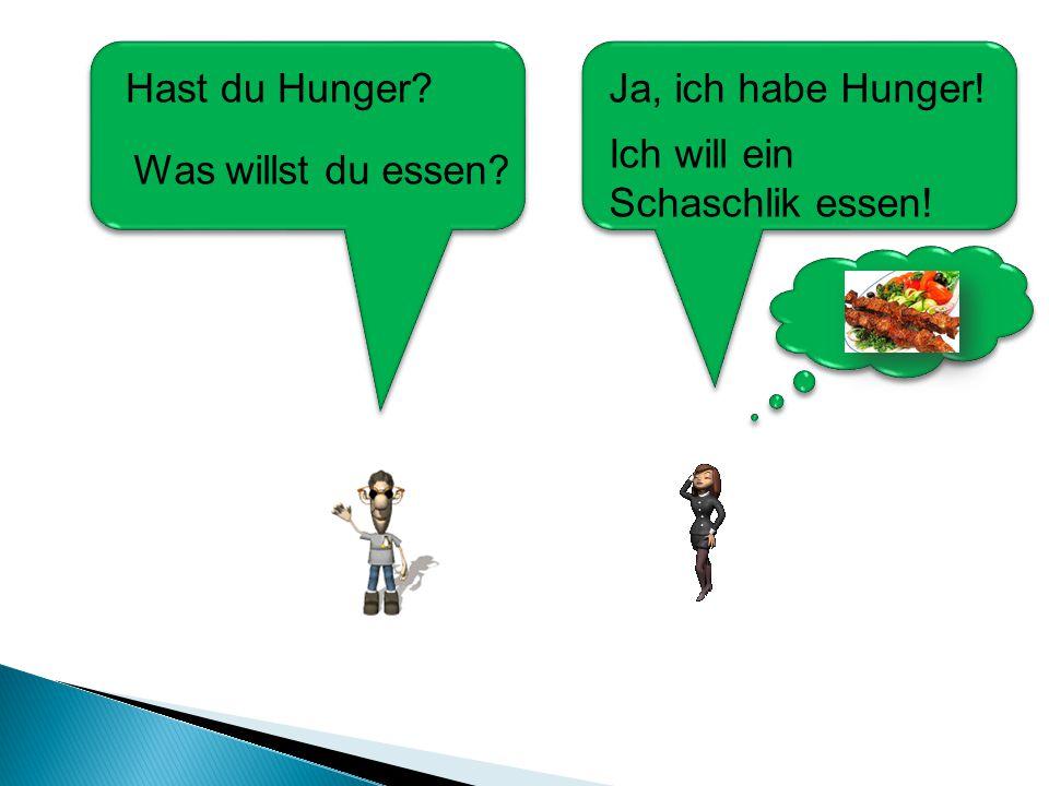 Ich will ein Schaschlik essen! Hast du Hunger? Was willst du essen? Ja, ich habe Hunger!