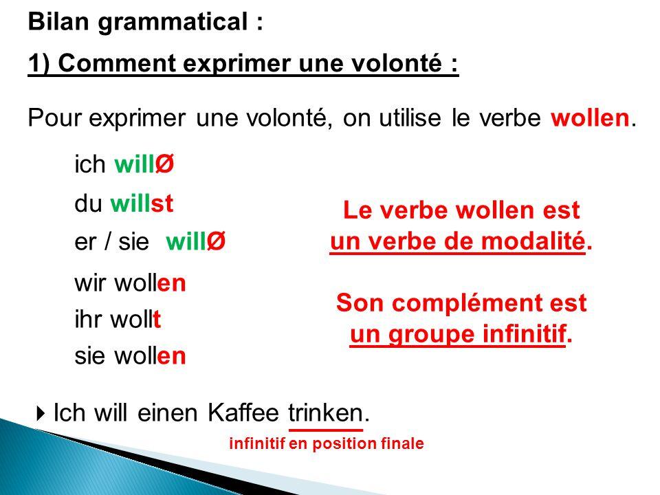 Bilan grammatical : 1) Comment exprimer une volonté : Pour exprimer une volonté, on utilise le verbe wollen. ich willØ du willst er / sie willØ wir wo