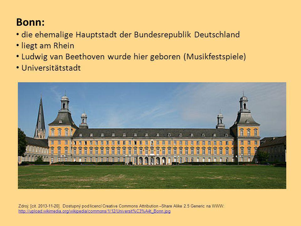 Bonn: die ehemalige Hauptstadt der Bundesrepublik Deutschland liegt am Rhein Ludwig van Beethoven wurde hier geboren (Musikfestspiele) Universitätstadt Zdroj: [cit.