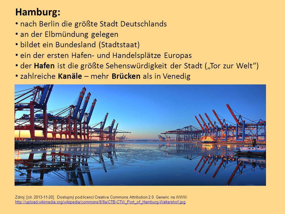 """Hamburg: nach Berlin die größte Stadt Deutschlands an der Elbmündung gelegen bildet ein Bundesland (Stadtstaat) ein der ersten Hafen- und Handelsplätze Europas der Hafen ist die größte Sehenswürdigkeit der Stadt (""""Tor zur Welt ) zahlreiche Kanäle – mehr Brücken als in Venedig Zdroj: [cit."""