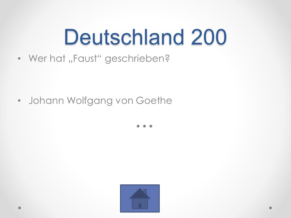 """Deutschland 200 Wer hat """"Faust geschrieben? Johann Wolfgang von Goethe"""
