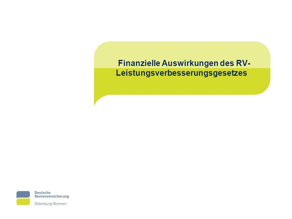 Finanzielle Auswirkungen des RV- Leistungsverbesserungsgesetzes