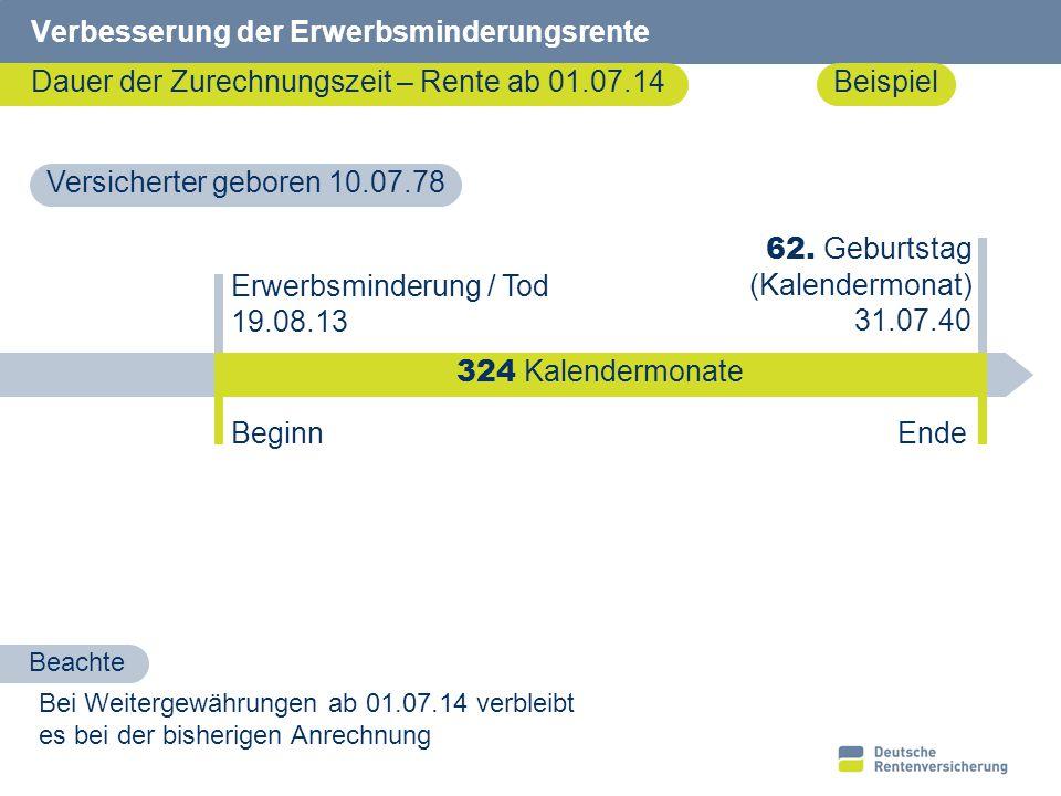 8 Verbesserung der Erwerbsminderungsrente Dauer der Zurechnungszeit – Rente ab 01.07.14 Erwerbsminderung / Tod 19.08.13 62. Geburtstag (Kalendermonat)
