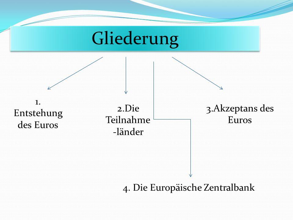 Gliederung 1. Entstehung des Euros 2.Die Teilnahme -länder 3.Akzeptans des Euros 4. Die Europäische Zentralbank