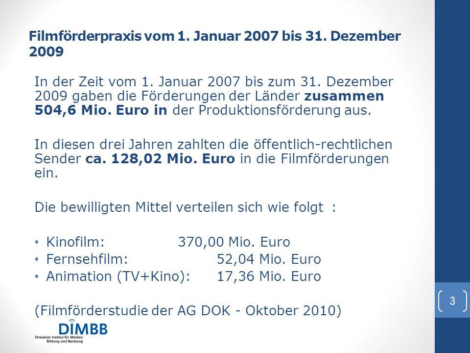 Filmförderpraxis vom 1. Januar 2007 bis 31. Dezember 2009 In der Zeit vom 1. Januar 2007 bis zum 31. Dezember 2009 gaben die Förderungen der Länder zu