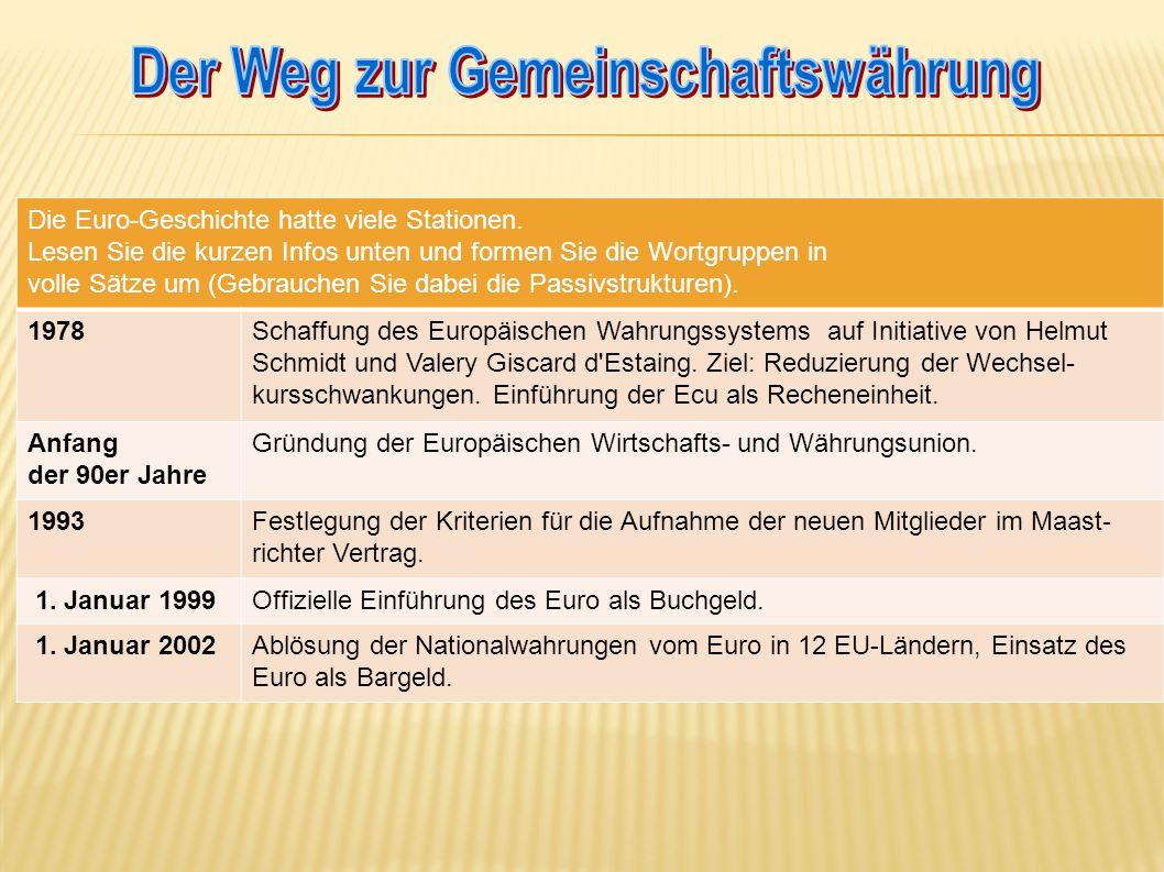 Die Euro-Geschichte hatte viele Stationen.
