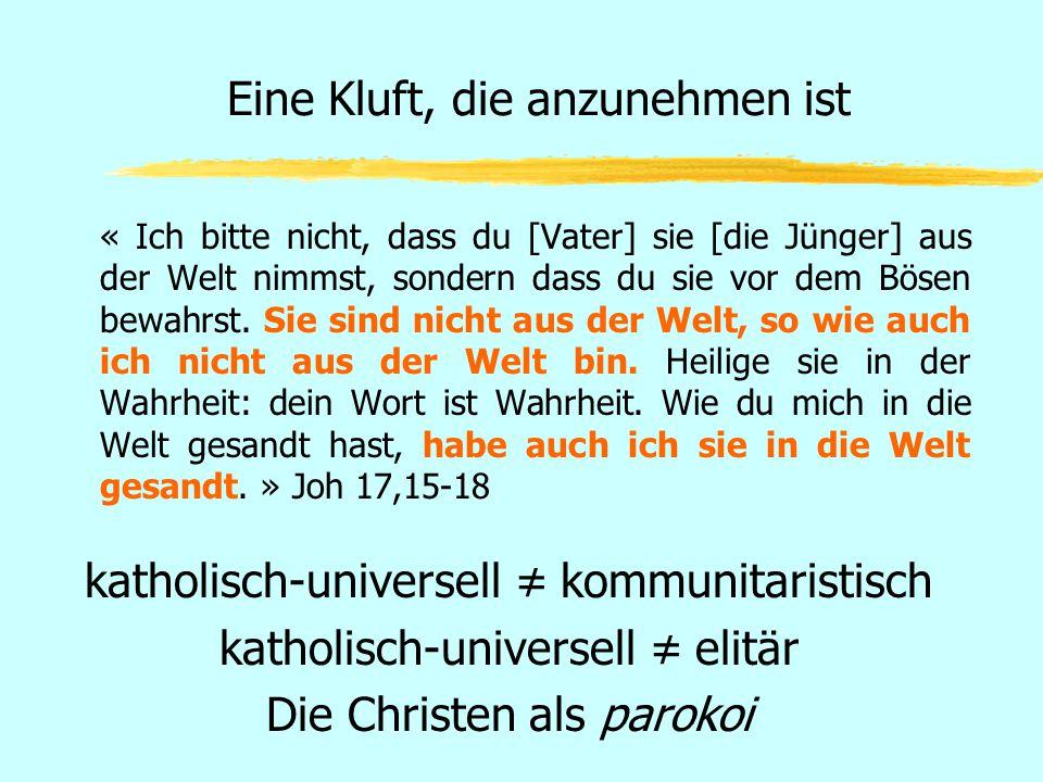 Eine Kluft, die anzunehmen ist « Ich bitte nicht, dass du [Vater] sie [die Jünger] aus der Welt nimmst, sondern dass du sie vor dem Bösen bewahrst. Si