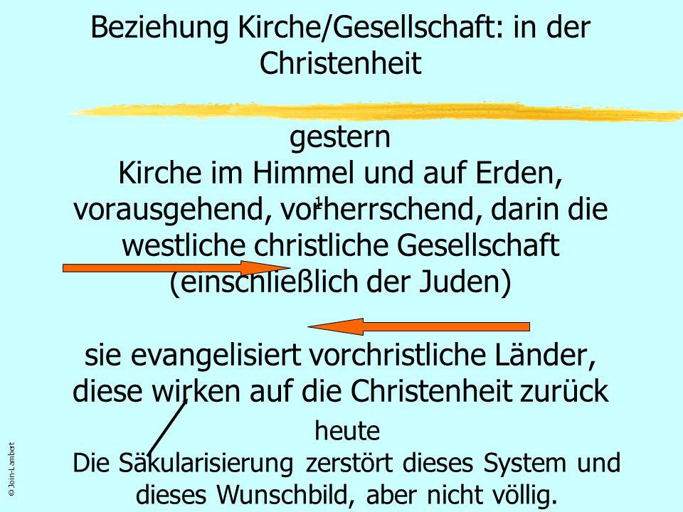 Beziehung Kirche/Gesellschaft: in der globalen, pluralistischen, post-christlichen Gesellschaft Kirche in einer Identitätskrise Erweckungs- bewegungen Islam « Orient » © Join-Lambert