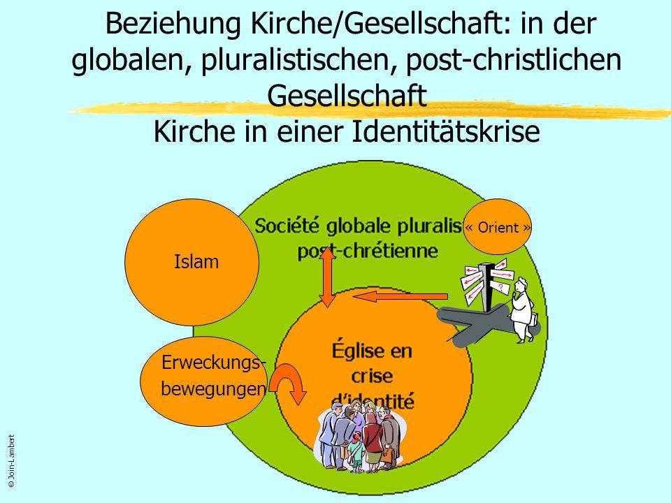 Zusammenfassend: eine verunsichernde, destabilisierende Veränderung (Heterogenität) Modell der Christenheit auf dem Weg des Verschwindens Modell der nach- christlichen Welt auf dem Weg der Verallgemeinerung Islam Orient Erweckungs- bewegungen © Join-Lambert