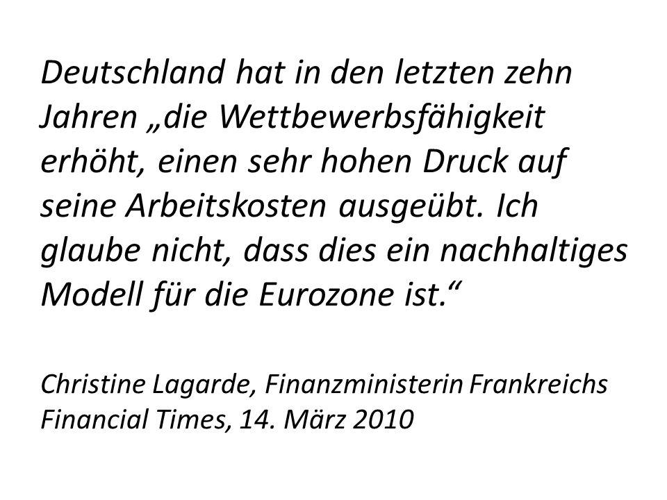 """Deutschland hat in den letzten zehn Jahren """"die Wettbewerbsfähigkeit erhöht, einen sehr hohen Druck auf seine Arbeitskosten ausgeübt."""