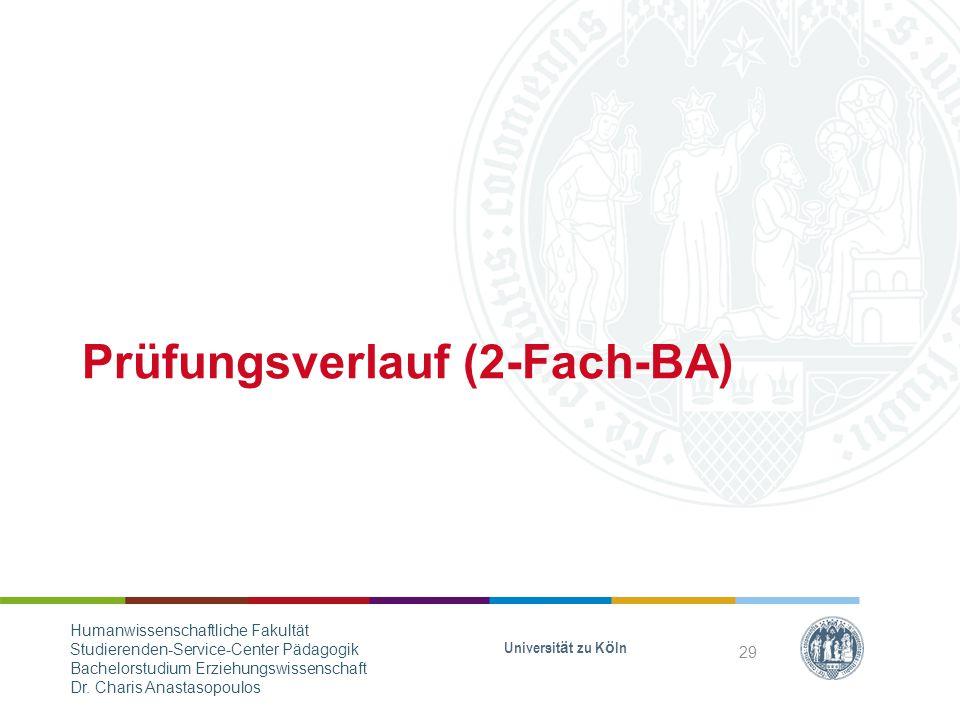 Prüfungsverlauf (2-Fach-BA) Universität zu Köln 29 Humanwissenschaftliche Fakultät Studierenden-Service-Center Pädagogik Bachelorstudium Erziehungswissenschaft Dr.