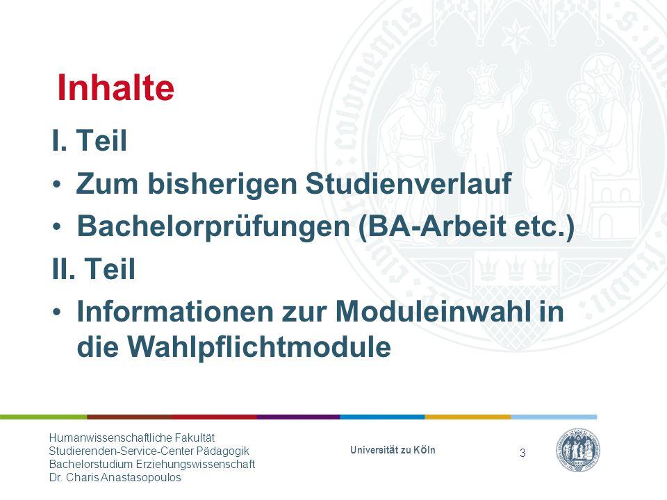 Inhalte I.Teil Zum bisherigen Studienverlauf Bachelorprüfungen (BA-Arbeit etc.) II.