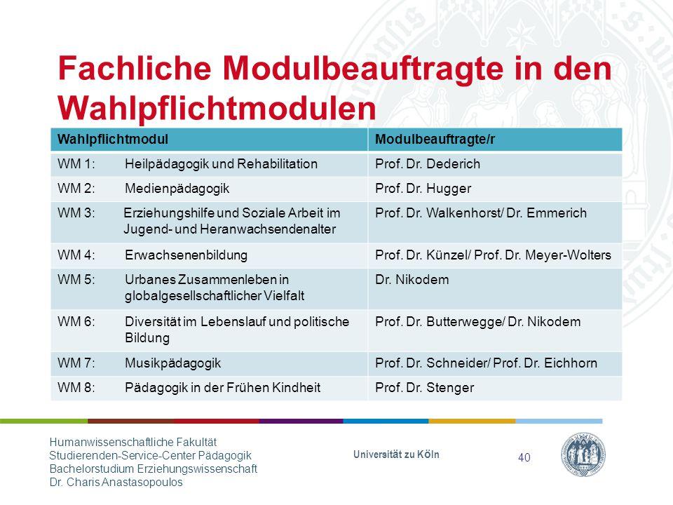 Fachliche Modulbeauftragte in den Wahlpflichtmodulen WahlpflichtmodulModulbeauftragte/r WM 1: Heilpädagogik und RehabilitationProf.