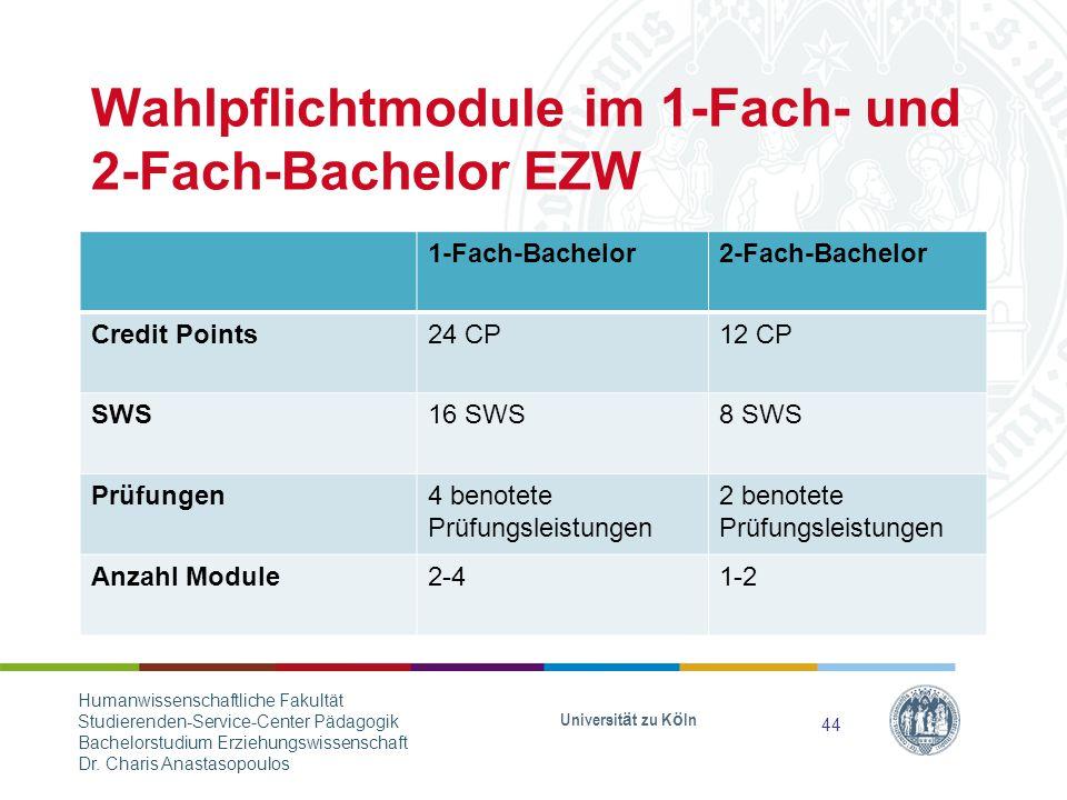 Wahlpflichtmodule im 1-Fach- und 2-Fach-Bachelor EZW 1-Fach-Bachelor2-Fach-Bachelor Credit Points24 CP12 CP SWS16 SWS8 SWS Prüfungen4 benotete Prüfungsleistungen 2 benotete Prüfungsleistungen Anzahl Module2-41-2 Universität zu Köln 44 Humanwissenschaftliche Fakultät Studierenden-Service-Center Pädagogik Bachelorstudium Erziehungswissenschaft Dr.