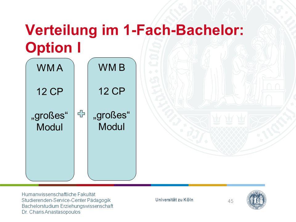 "Verteilung im 1-Fach-Bachelor: Option I WM A 12 CP ""großes Modul WM B 12 CP ""großes Modul Universität zu Köln 45 Humanwissenschaftliche Fakultät Studierenden-Service-Center Pädagogik Bachelorstudium Erziehungswissenschaft Dr."